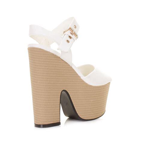 white wedge high heels womens white leather look demi wedge platform high heel