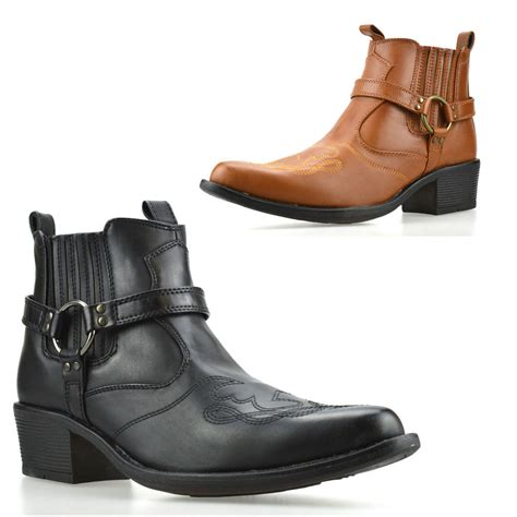 buckle mens boots mens new cuban heel western cowboy harness buckle ankle