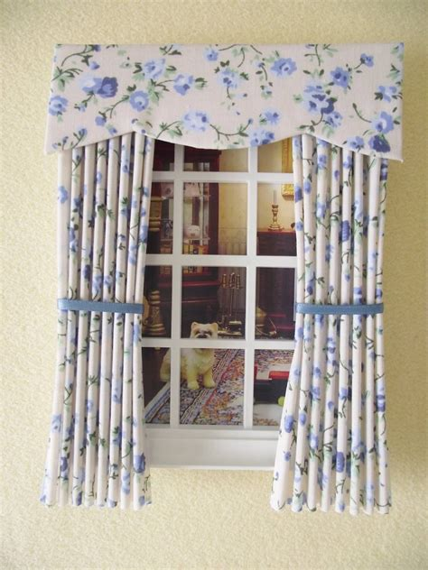 doll house curtains miniature doll house miniature curtains drapes cream blue floral 12cm ebay