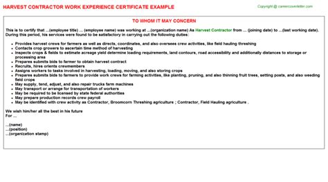 Work Experience Letter To Contractor Harvest Contractor Work Experience Certificate