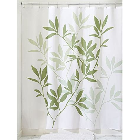 green leaf shower curtain interdesign leaves fabric shower curtain green white
