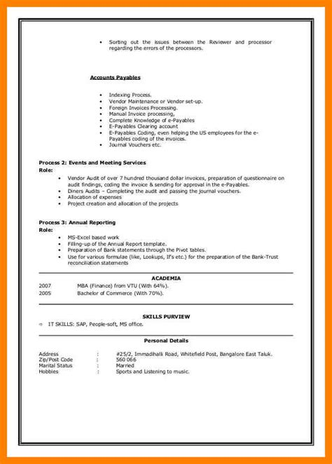 resume setup exles gallery of resume set up