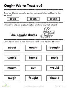 aught pattern words vowel worksheets second grade 2nd grade phonics