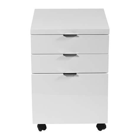 Gloss White Filing Cabinet Gilbert File Cabinet In Black Lacquer Chrome Office Filing Cabinets Pedestals And Storage