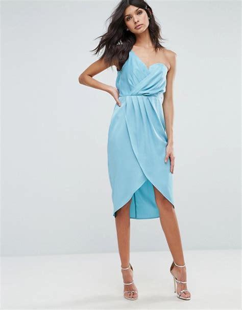 drape dress with one shoulder asos asos one shoulder drape bodiced wrap midi dress