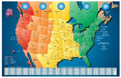 us area code and time zone map printable america laminated gloss color time zone by