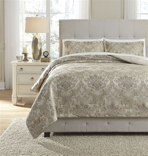gold comforter sets queen amil ivory and gold queen comforter set from ashley