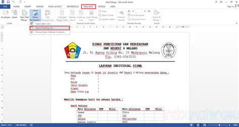 tutorial membuat mail merger tutorial menggunakan mail merge microsoft office word