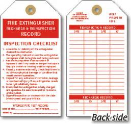 Extinguisher Inspection Tag Template by Extinguisher Checklist Tags Cardstock And Vinyl Tags