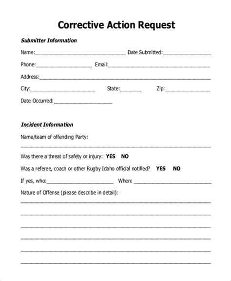 Corrective Action Request Form Template