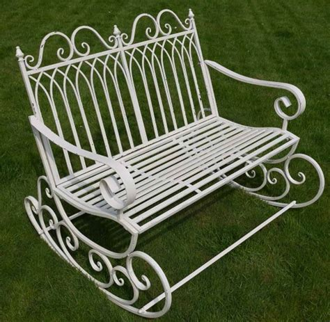 metal rocking bench victorian style metal garden rocking bench in a shabby