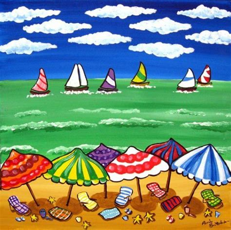 sailboat umbrella whimsical beach scene umbrellas sailboats fun by