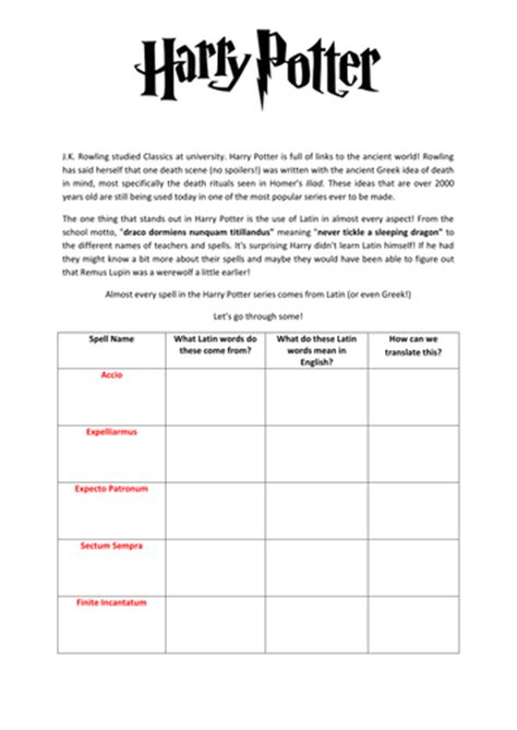 harry potter printable activity sheets latin harry potter worksheet by anon7988 teaching