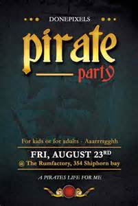 free pirate party flyer psd template for photoshop