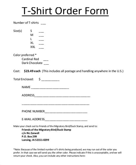 t shirt form template sle t shirt order form 11 exles in pdf word