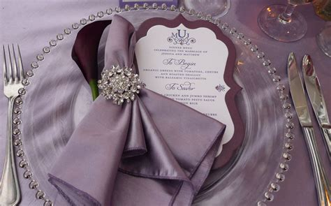 setting table napkin purple plum rustic wedding at temecula creek inn