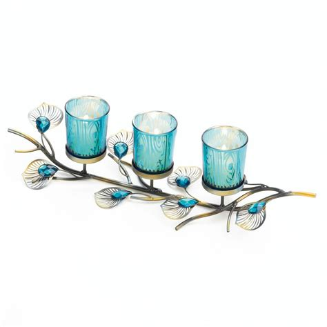 peacock inspired candle trio wholesale at koehler home decor