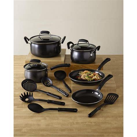 Pots Kitchen Menu by Essential Home Carbon Steel Nonstick 14 Cookware Set