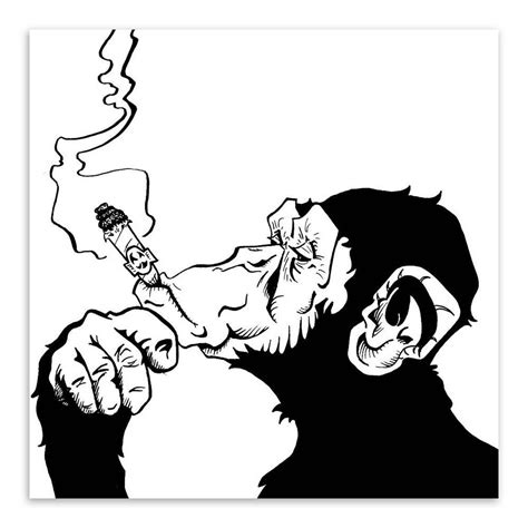 black white abstract decorative art posters at black white animals smoking gorilla modern abstract canvas