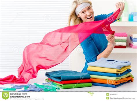 Laundry Woman Folding Clothes Stock Photo Image 18595548 Folding Laundry