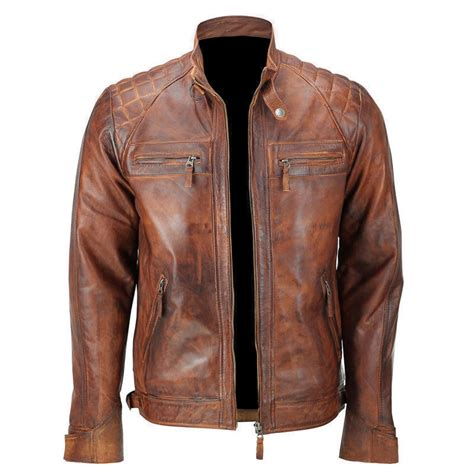Motorrad Lederjacke Cafe Racer by Men S Biker Quilted Vintage Distressed Motorcycle Cafe