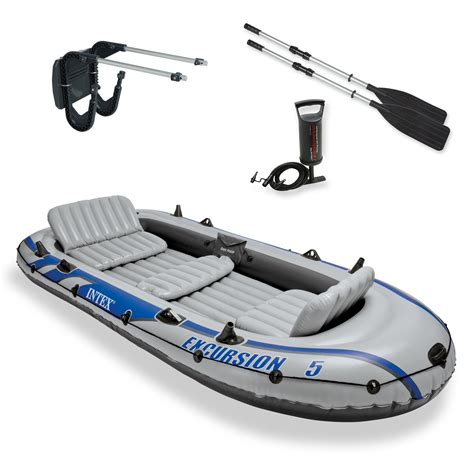 inflatable boat with a motor intex excursion 5 inflatable rafting and fishing boat with