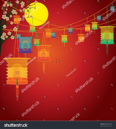 new year lantern festival ppt moon background traditional mid stock vector