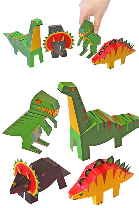 Paper Dinosaur Craft - dinosaurs paper toys diy paper craft kit 3d paper by