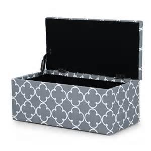 Fabric Ottoman With Storage Adeco 2 Fabric Quartrefoil Storage Ottoman Bench Ft0066