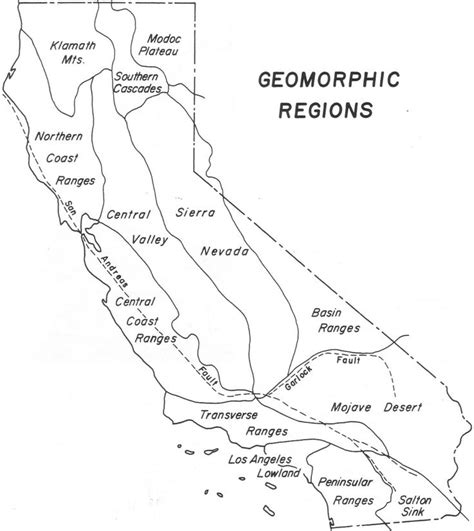 coloring page map of california california geomorphic regions map color handout page map