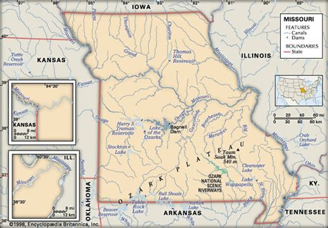 physical map of missouri missouri physical features encyclopedia