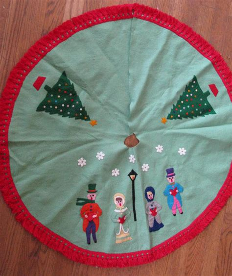 vintage felt christmas tree skirt by ania designs