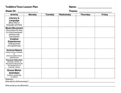 lesson plan template early childhood provider sle lesson plan template school pinterest