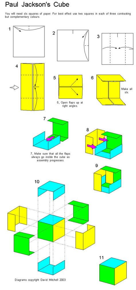 Origami Jackson Cube - modular free diagrams instructing you how to fold unit
