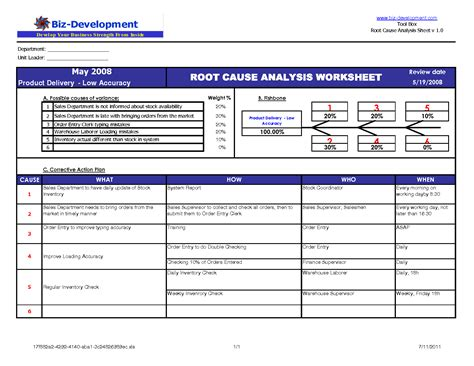 root cause analysis excel template template design