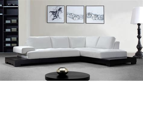 Contemporary White Leather Sectional Sofa Dreamfurniture Modern White Leather Sectional Sofa