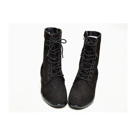 mens mid calf boots s black suede eyelet lace up side zip button