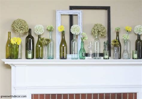 17 best images about decor greens of spring on pinterest green colors search and light table an easy spring mantel decorating idea with wine bottles