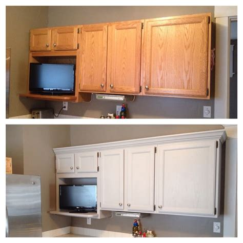 rustoleum kitchen cabinet paint added crown molding and painted cabinets winter fog with