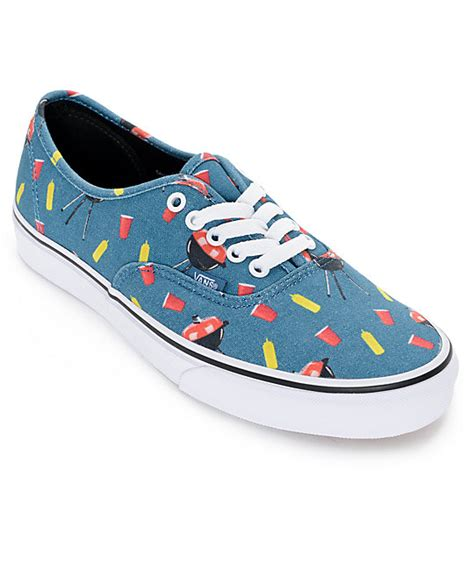 vans authentic pool vibes blue and white skate shoes mens
