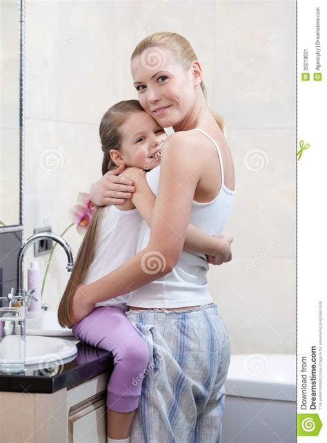 bathroom mother mummy and daughter are in bathroom stock image image