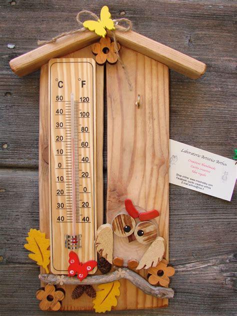 cassetta porta chiavi casetta gufo termometro porta chiavi in legno artigianale
