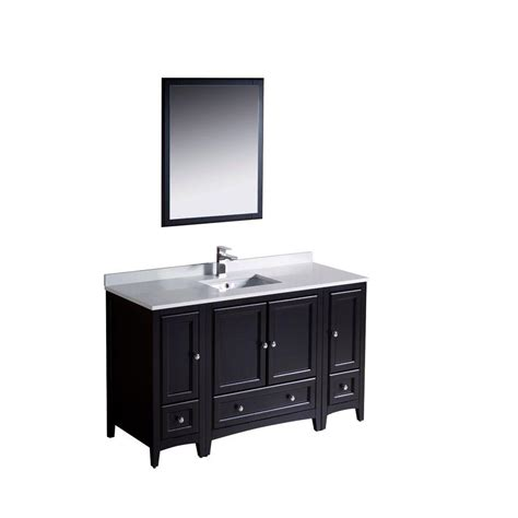 54 inch single sink bathroom vanity set solid oak wood and