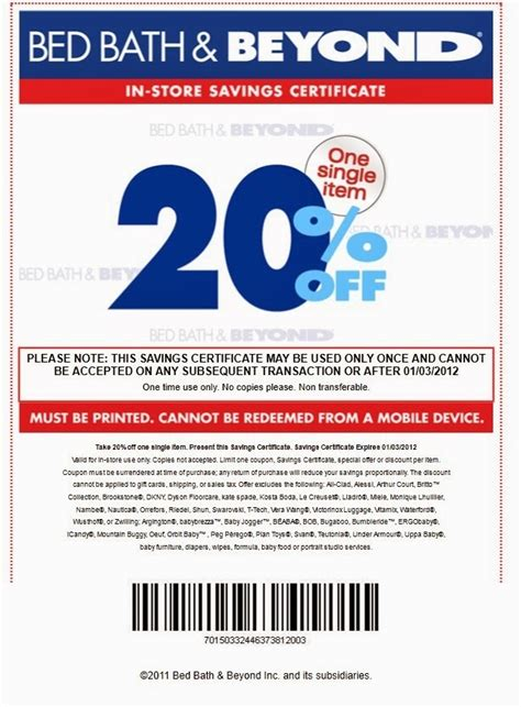bed bath beyond free printable coupons bed bath and beyond coupons