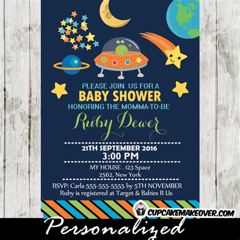 Rental Space For Baby Shower In by Outer Space Themed Baby Shower Invitation Personalized