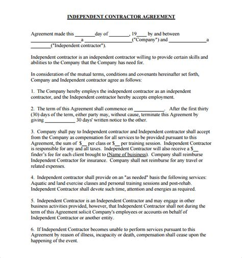sle independent contractor agreement 19 documents in