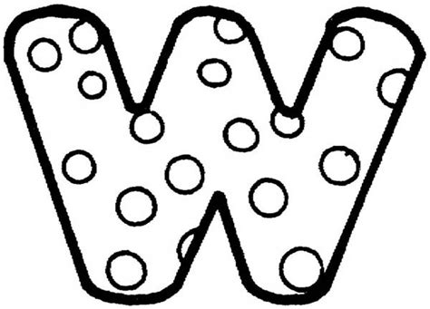 w bubble letters coloring pages sketch coloring page