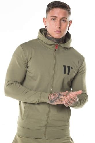 11 degrees | poly zipped jacket khaki