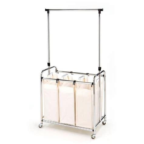 Seville Classics 3 Bag Laundry Sorter With Hanging Bar Sorter Laundry