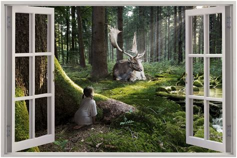 Wall Murals Enchanted Forest 3d Window View Enchanted Forest Wall Sticker Mural